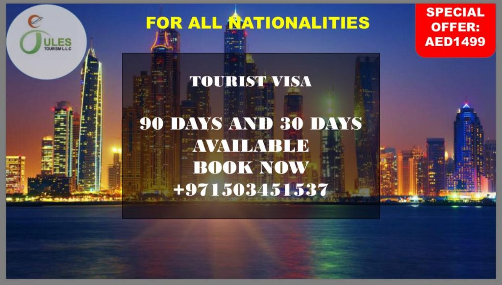 Longing for a Visa? Jules Tourism L.L.C has special offer for you. We offer Normal Visa, Cancelled to Tourist and Tourist to Tourist! So what are you waiting for? Grab your own now! For more info, feel free to contact this number number +971503451537 or visit our Facebook Page @Jules Tourism L.L.C